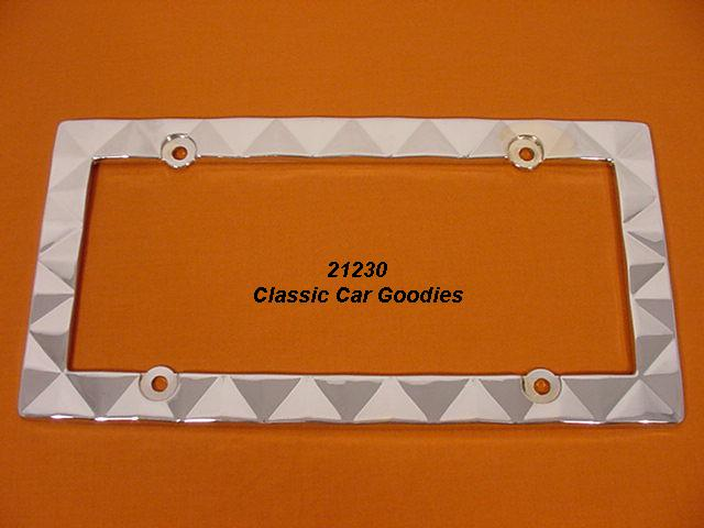Prism License Plate Frame. Chrome Die Cast Metal