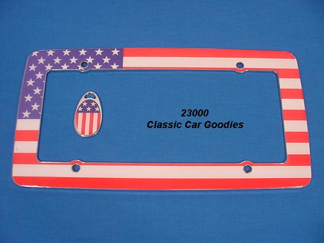 USA Flag #2 License Plate Frame Chrome Resin + Key Chain