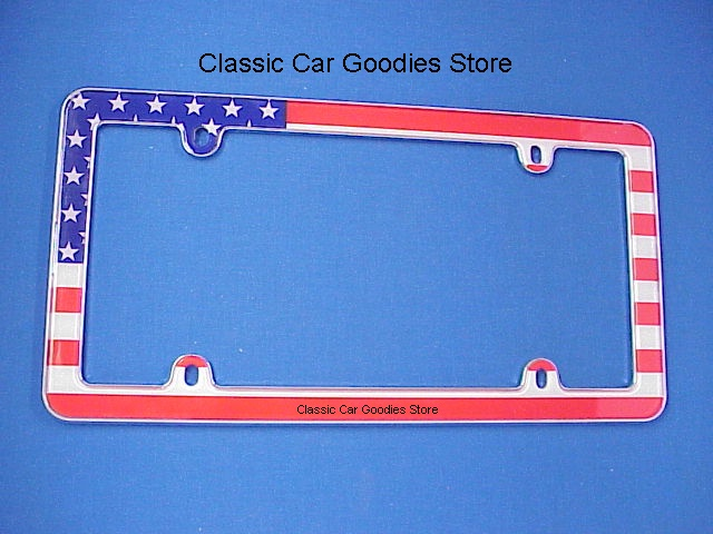License Plate Frame. USA. American Flag. Classic. Chrome. Brand New!