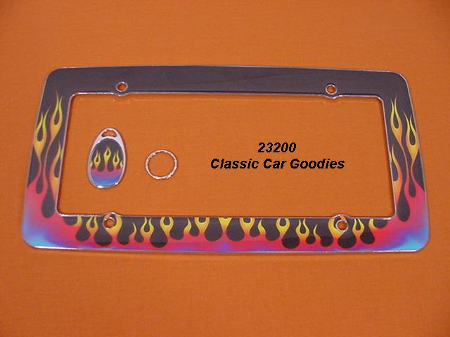 Flames License Plate Frame. Traditional Chrome/Resin
