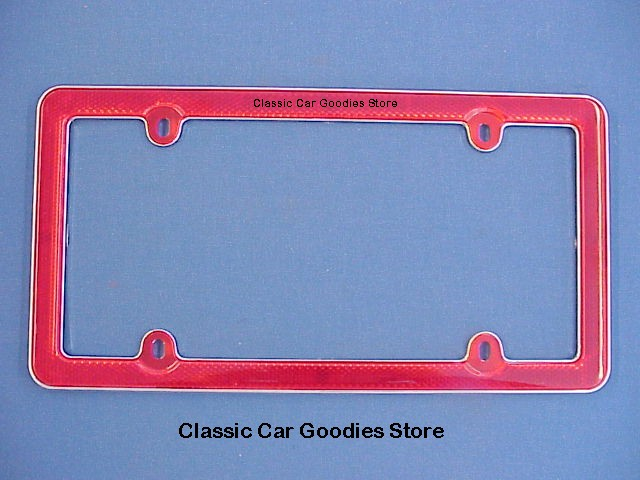 Red Reflector License Plate Frame. High Visibility!!