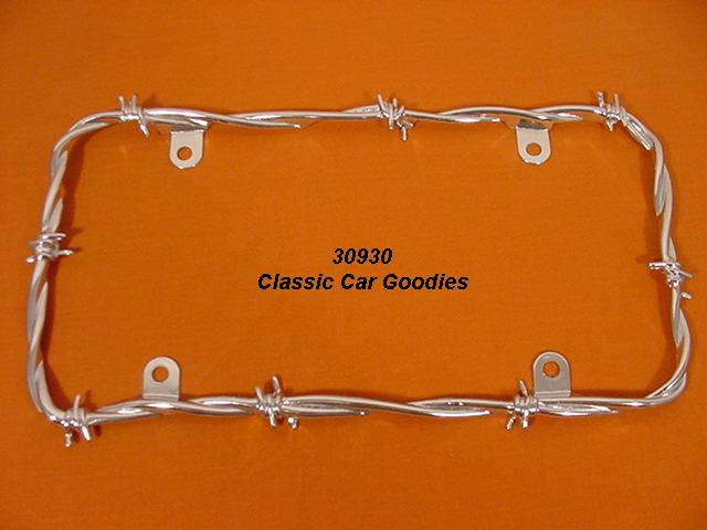 Barbed Wire #2 License Plate Frame. Fence Cowboy Chrome
