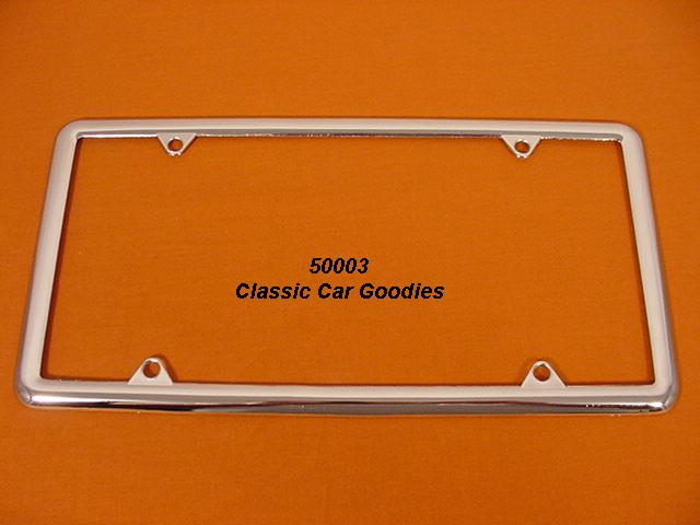 Economy 1/2 License Plate Frame Classic Chrome Metal