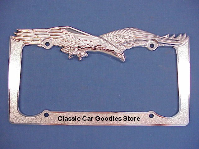 Eagle Screaming License Plate Frame. Style #2. Chrome. Metal.
