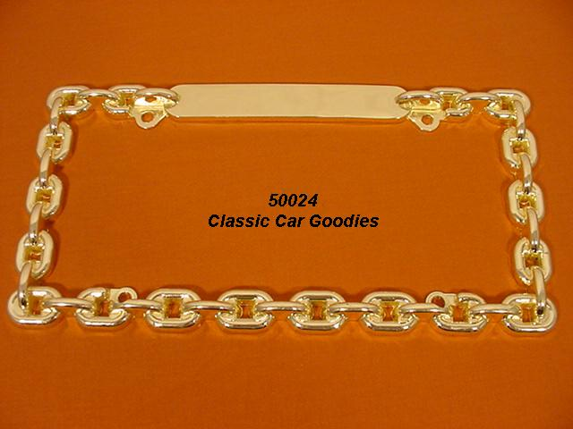Chain License Plate Frame. Gold Die Cast Metal
