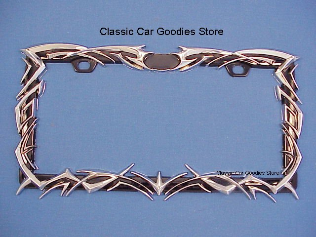 License Plate Frame. Chrome Tribal Flames