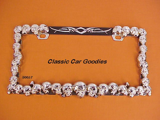 Skulls, Skulls, Skulls License Plate Frame Chrome Metal