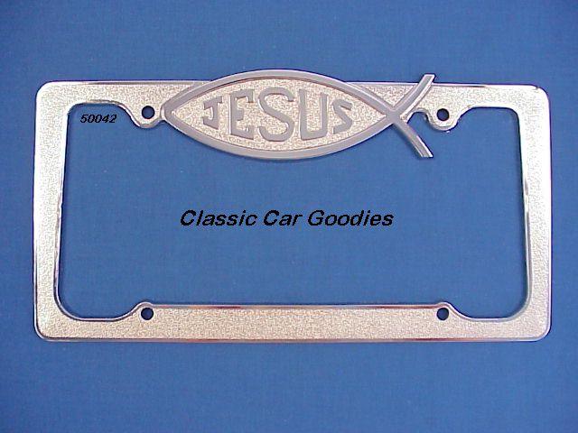 Jesus License Plate Frame. (1) Church Praise Lord Chrome