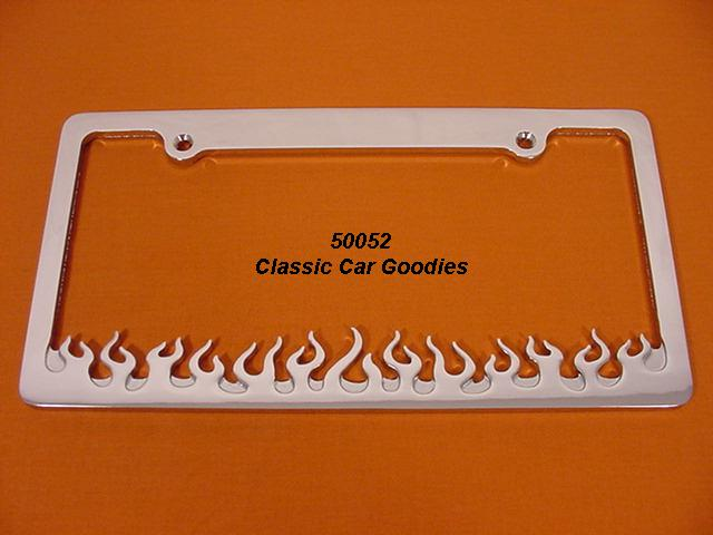 Flames License Plate Frame. Chrome Billet Rod Aluminum.