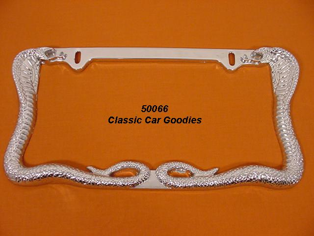 Cobra Twins License Plate Frame. Chrome Die Cast Metal