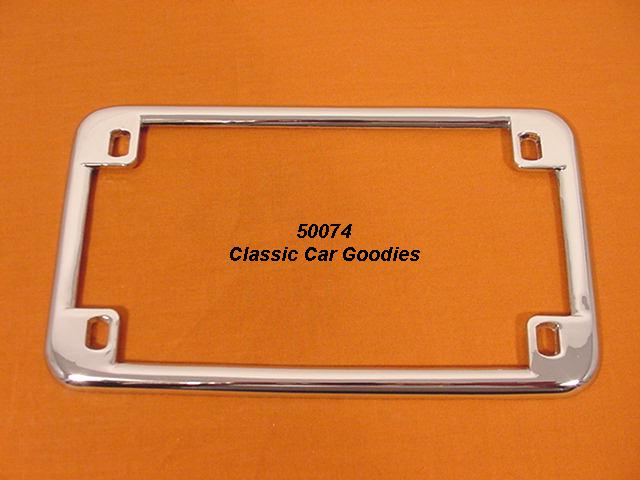 Motorcycle License Plate Frame. Smooth Chrome Metal. Harley Honda Buell