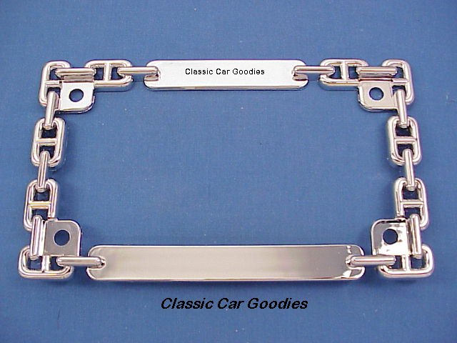 Motorcycle License Plate Frame Chrome Chain Metal Harley Honda Buell