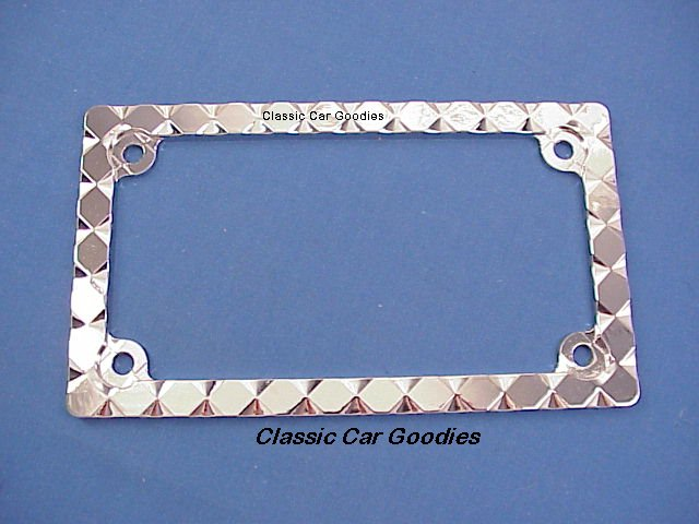 Motorcycle License Plate Frame Chrome Diamonds Metal Harley Honda Buell