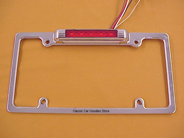 License Plate Frame LED L/P Light & 3rd Brake Light Chrome Custom Vintage Look