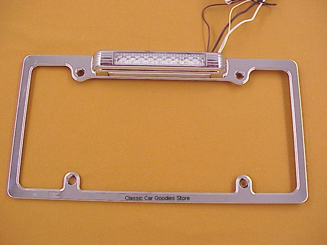 License Plate Frame LED L/P Light & LED Back Up Light Chrome Vintage Look