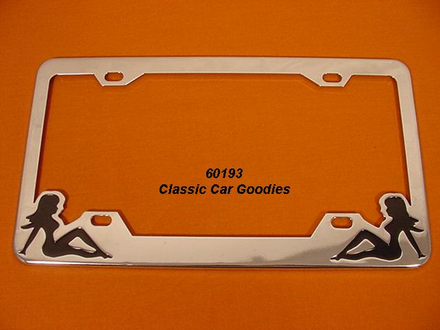 Nude Twins #2 License Plate Frame Naked. Chrome. Metal.