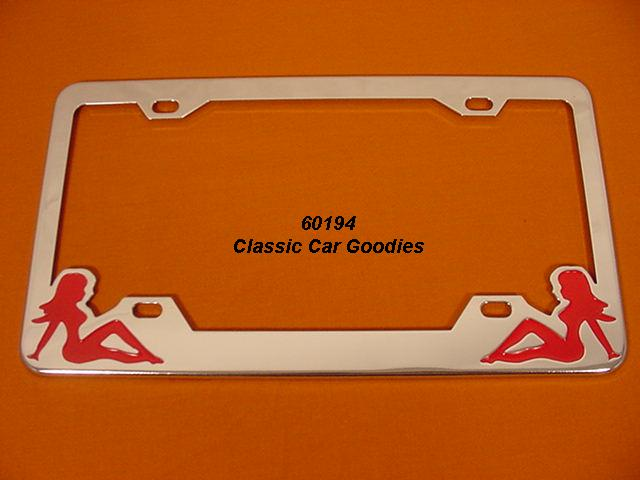 Nude Twins #3 License Plate Frame Naked. Chrome. Metal.