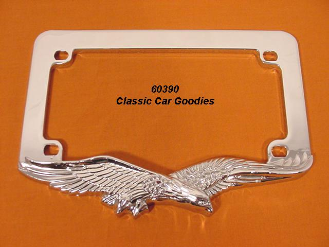 Motorcycle License Plate Frame. Eagle Chrome Metal. Harley Honda Buell