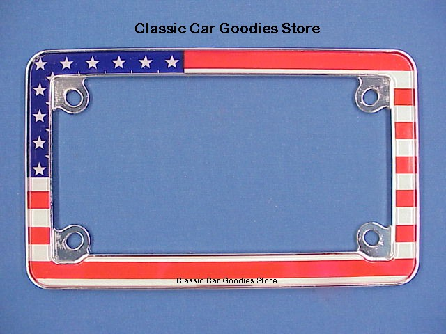 Motorcycle License Plate Frame. Stars & Stripes USA Flag. Harley Honda Buell