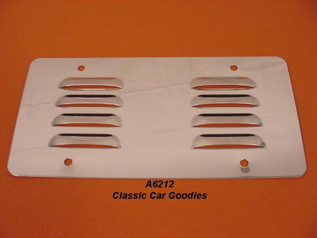 Street Rod License Plate Backing (1) Louvered Highly Polished SS