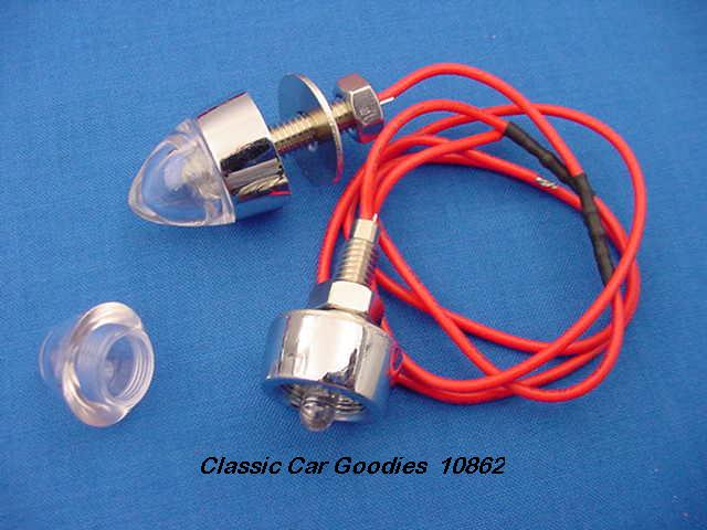License Plate Bolts (2) LED Clear Chrome Base 12 Volt
