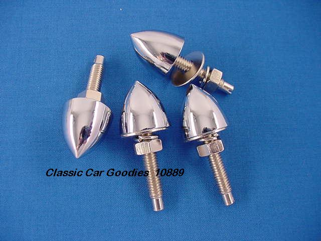 License Plate Bolts Fasteners (4) Bullets Chrome Smoooth