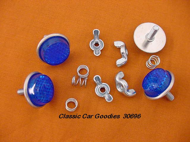 License Plate Bolts (4) Reflector Blue New!