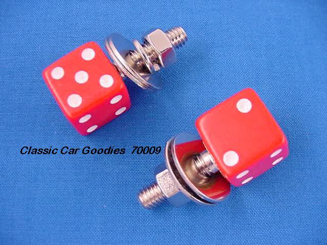 License Plate Bolts Fasteners Dice Red