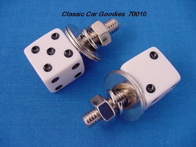 License Plate Bolts Fasteners Dice White