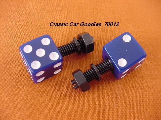 License Plate Bolts Fasteners Dice Blue