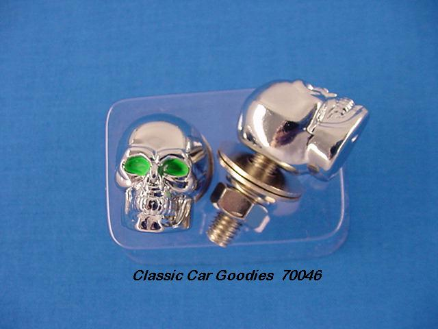 License Plate Bolts Fasteners Chrome Skull - Green Eyes