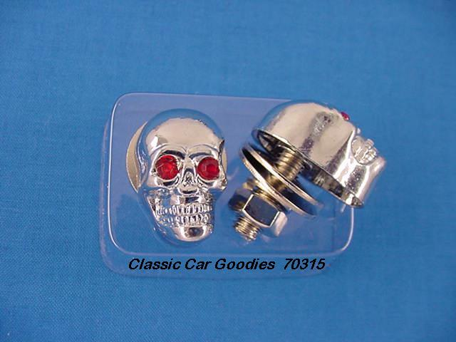 License Plate Bolts Fasteners Chrome Skull - Red Eyes