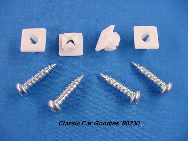 License Plate Bolts (4) Sheet Metal Screws + Plastic Inserts
