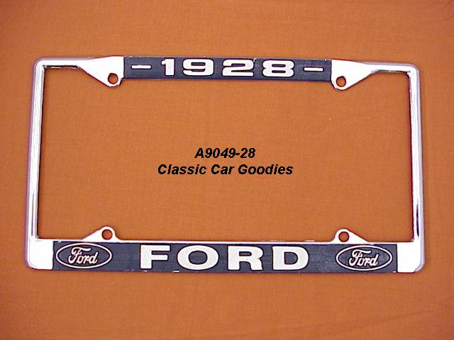 1928 Ford Blue Oval License Plate Frame Chrome. Metal.