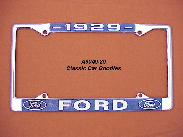1929 Ford Blue Oval License Plate Frame Chrome. Metal.