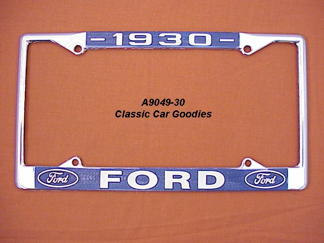 1930 Ford Blue Oval License Plate Frame Chrome. Metal.