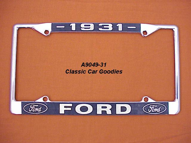 1931 Ford Blue Oval License Plate Frame Chrome. Metal.