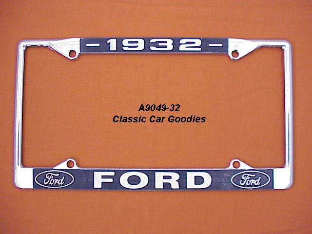 1932 Ford Blue Oval License Plate Frame Chrome. Metal.