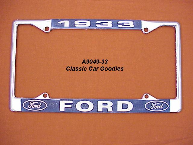 1933 Ford Blue Oval License Plate Frame Chrome. Metal.