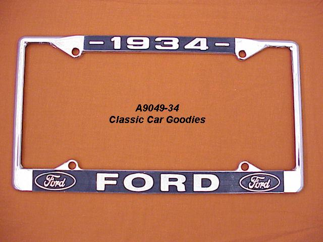 1934 Ford Blue Oval License Plate Frame Chrome. Metal.
