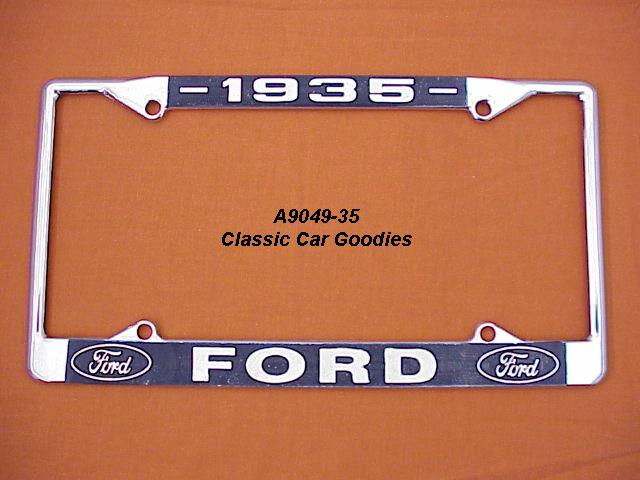1935 Ford Blue Oval License Plate Frame Chrome. Metal.