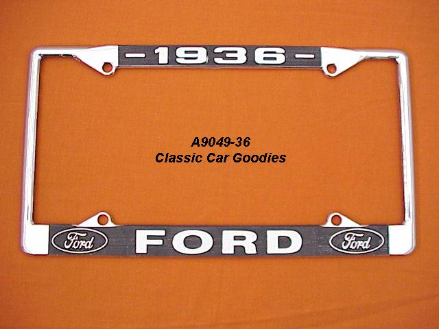 1936 Ford Blue Oval License Plate Frame Chrome. Metal.