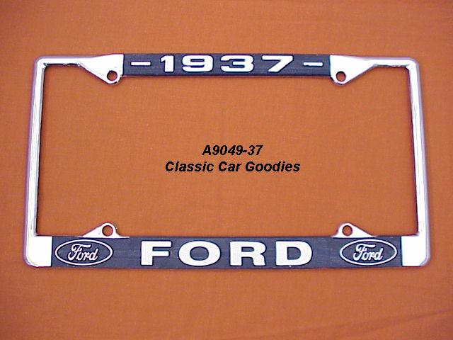1937 Ford Blue Oval License Plate Frame Chrome. Metal.