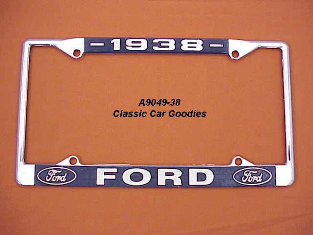 1938 Ford Blue Oval License Plate Frame Chrome. Metal.