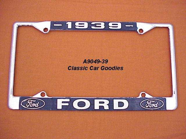 1939 Ford Blue Oval License Plate Frame Chrome. Metal.