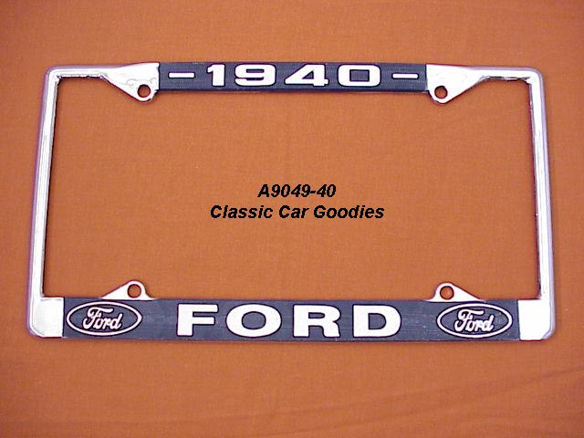 1940 Ford Blue Oval License Plate Frame Chrome. Metal.