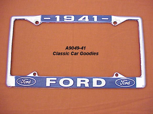 1941 Ford Blue Oval License Plate Frame Chrome. Metal.