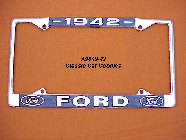 1942 Ford Blue Oval License Plate Frame Chrome. Metal.