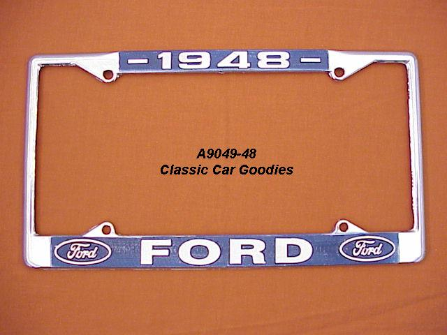 1948 Ford Blue Oval License Plate Frame Chrome. Metal.