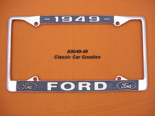 1949 Ford Blue Oval License Plate Frame Chrome. Metal.